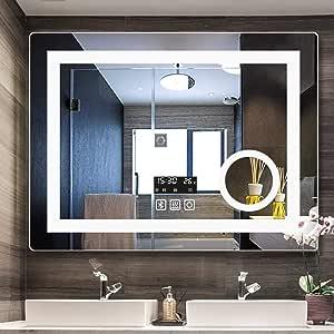 LP bathroom mirror Espejo de baño de 800 x 600 mm con iluminación LED para Montar en la Pared con Sensor de luz + desempañador + Espejo de Aumento 3X, suspensión Horizontal/Vertical: