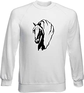 Felpa Girocollo Uomo Bianca FUN1891 Horses Horse Animal