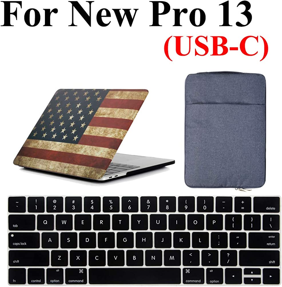 Macbook Pro 13 inch Case with USB-C (Release 2020-2016) Case & Bag 3 in 1 Bundle, iZi Way US Flag Case with Blue Water Repellent Sleeve Bag, Keyboard Cover for Mac Pro 13 A2251/A2289/A2159/A1989/A1706/A1708