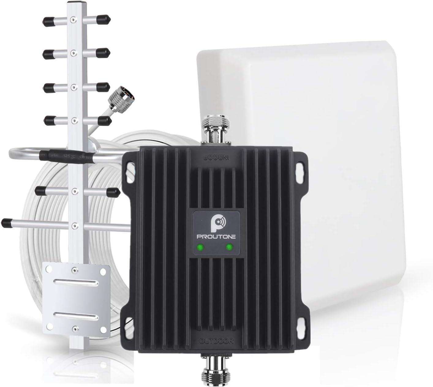 Amplificador de Señal Banda Dual gsm 900MHz 3G WCDMA 2100MHz con Panel Antena Interior y Yagi Antena Exterior con Cable de 10m para Uso de Edificios, ...