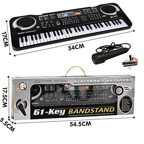61 Key Keyboard Piano For Kids ,Children Portable Electric Organ ,Music Electronic Keyboards Piano Educational Toy For Boy Girls, Melody 61 Beginner keyboard Bundle w/ adaptor Microphone (BLACK-1)