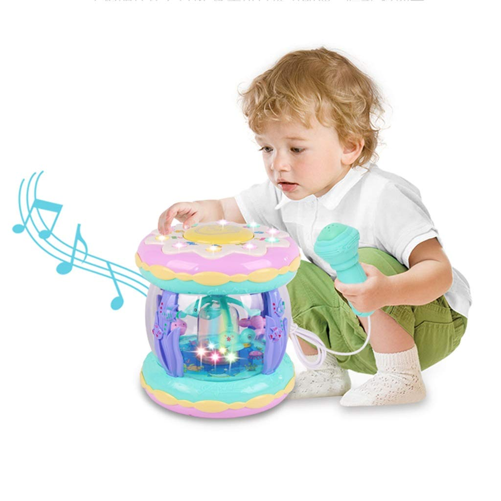 LIPENG-TOY Children's Hand Drums Dreams Ocean Fountain Music Lights Pat Drums USB Charging Microphone Toys (Color : Multi-Colored)