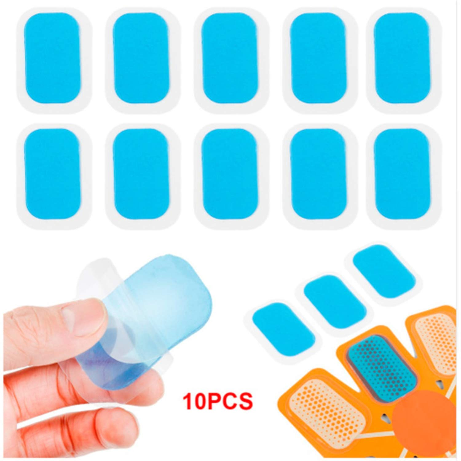 SSTQSAA 10pc Patch Pads Silicone Mat Gel Stickers For Wireless Smart EMS Abdominal Muscles Training Body Massager
