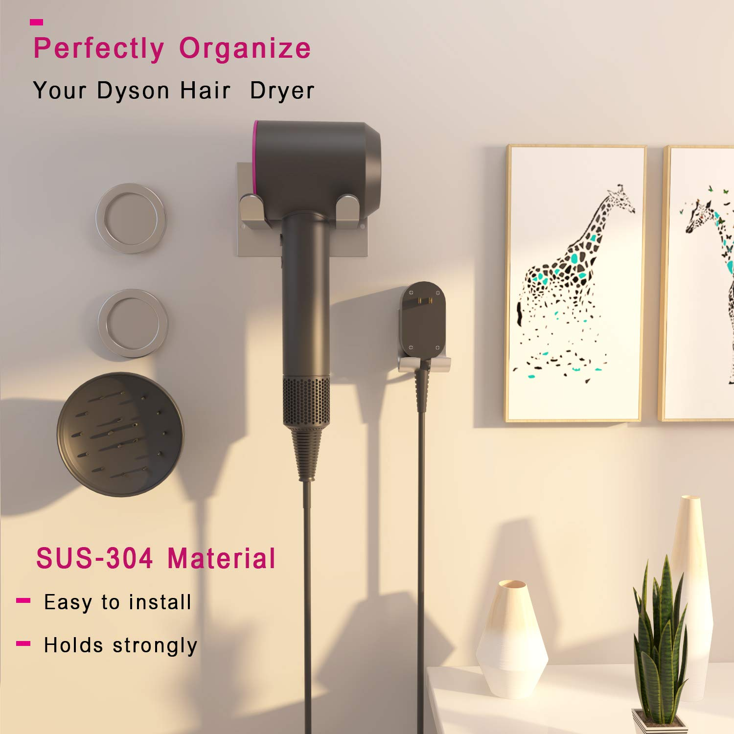XIGOO Hair Dryer Holder, Self Adhesive Dyson Hair Dryer Wall Mount Holder Compatible Dyson Supersonic Hair Dryer, Brushed, 304 Stainless Steel, Power Plug, Diffuser and Nozzles Organizer by XIGOO (Image #4)
