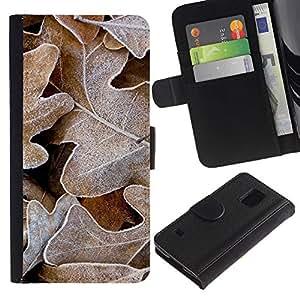 LASTONE PHONE CASE / Lujo Billetera de Cuero Caso del tirón Titular de la tarjeta Flip Carcasa Funda para Samsung Galaxy S5 V SM-G900 / Winter Frost Autumn Alaska Fall
