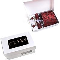 Oztev Men's 4 in 1 Cufflinks + Necktie + Square Pocket + Tie Clip Gift Set