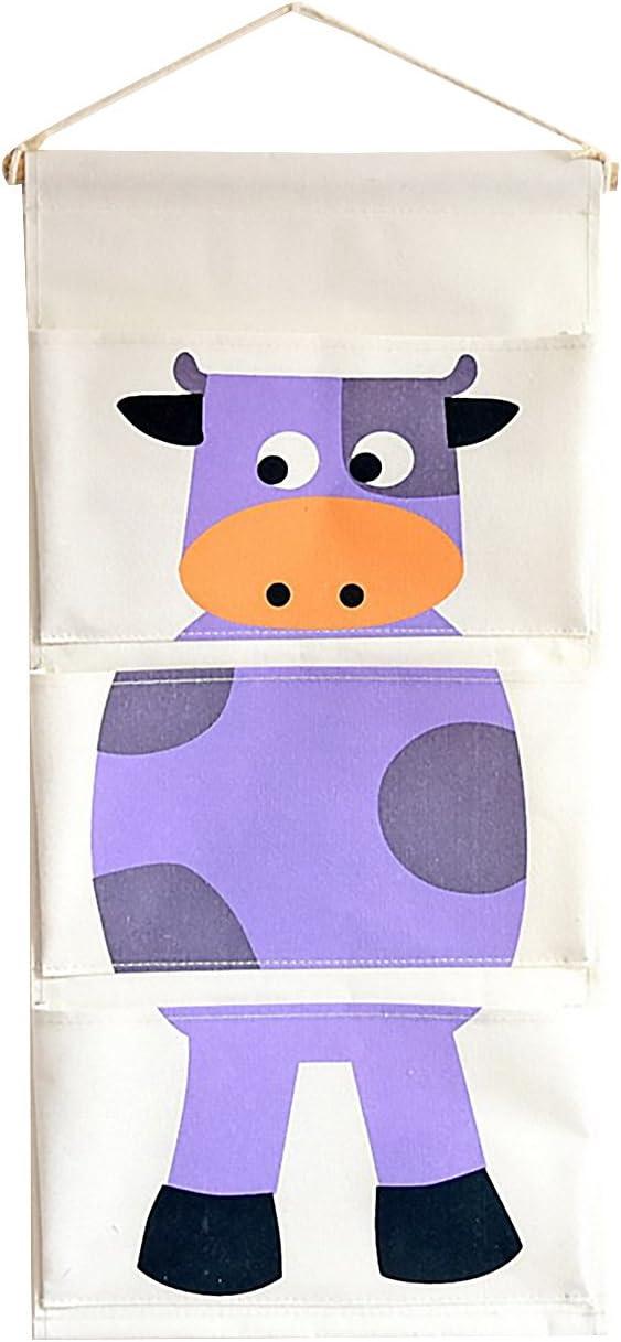 HilltopToCloud Portaoggetti da Parete Porta in Lino Cartoon Animale Organizzatore da Appendere 3 Tasche con Gancio