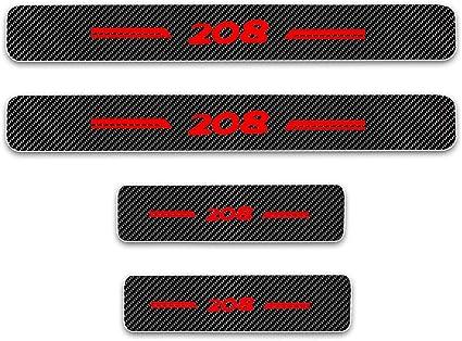 8X-SPEED pour 208 4D Seuil de Porte Voiture Fibre de Carbone R/éfl/échissant Autocollant,Protection Seuil P/édale Prot/éger Car Styling 4 Pi/èce Blanc