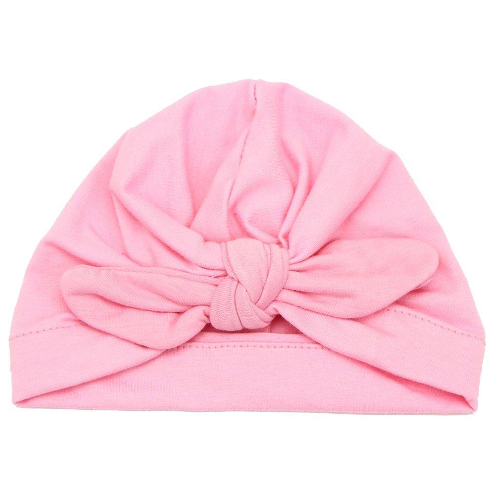 Pink ReFaXi Newborn Baby Girls Turban Bow Knot Head Wrap Hat Cotton Cap Headband