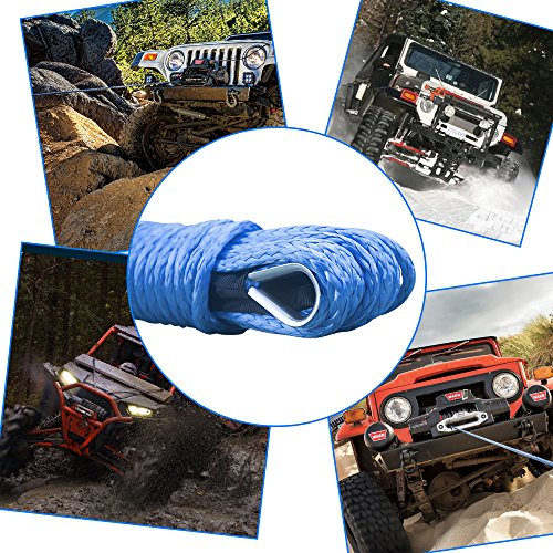 50 x 1//4 Synthetic Winch Rope ATV Winch Line with Protective Sheath Safer and Stronger for ATV UTV KFI Vehicle Car Motorcycle Blue, 7000+LBS