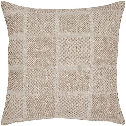 Amazon Brand Stone Beam Casual Woven Square Decorative Throw Pillow, 17 x 17 , Ivory