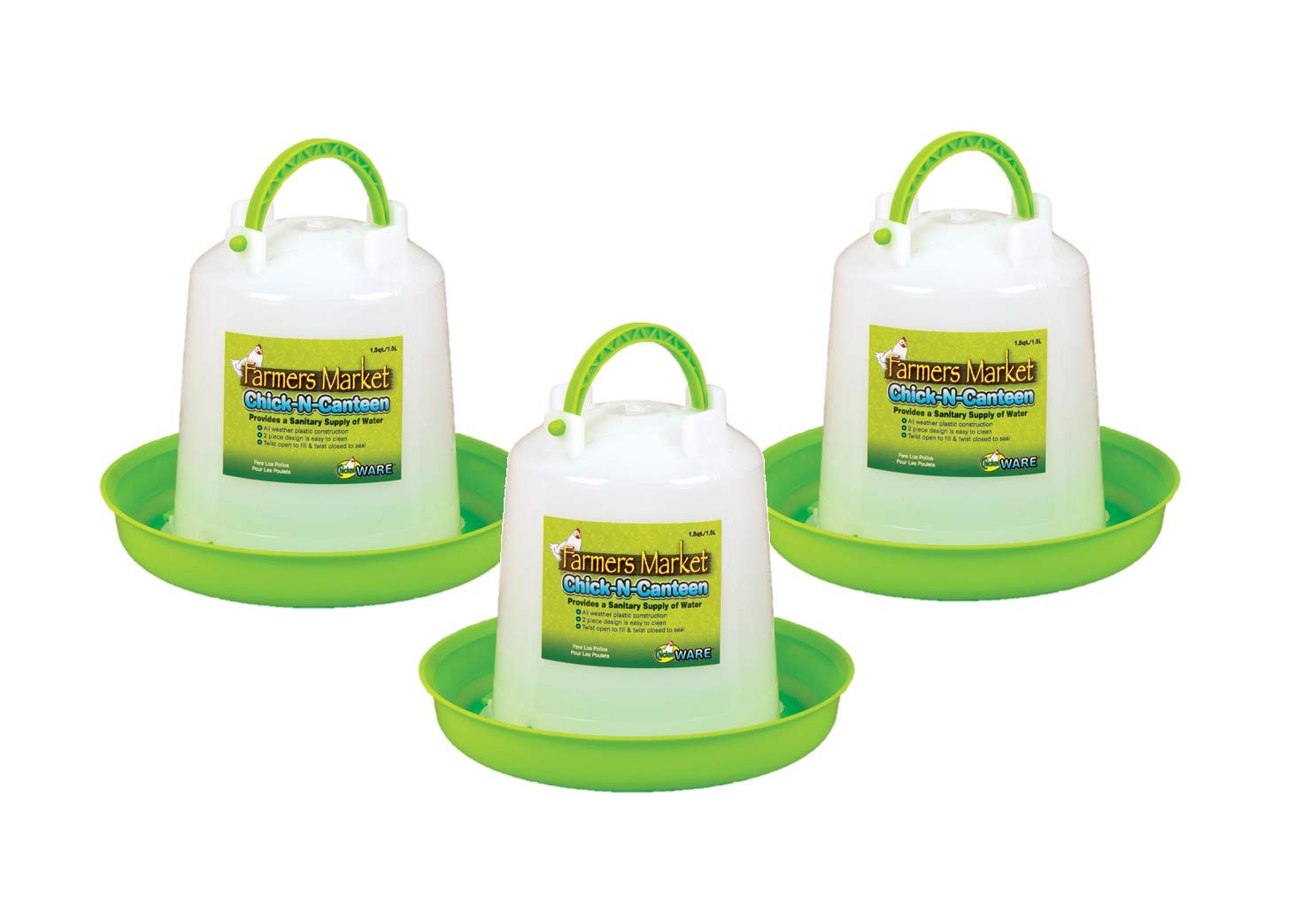 Ware Manufacturing 3 Pack of Chick-N-Canteen, Small Bird Waterer by Ware Manufacturing