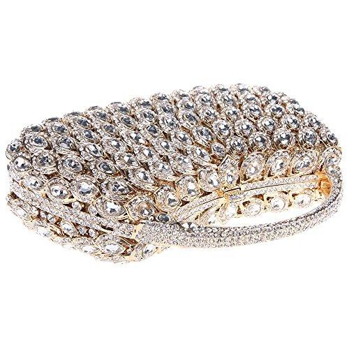 Damen Clutch Abendtasche Handtasche Geldbörse Groß Glitzertasche Strass Kristall Tasche mit wechselbare Trageketten von Santimon(3 Kolorit) Gold