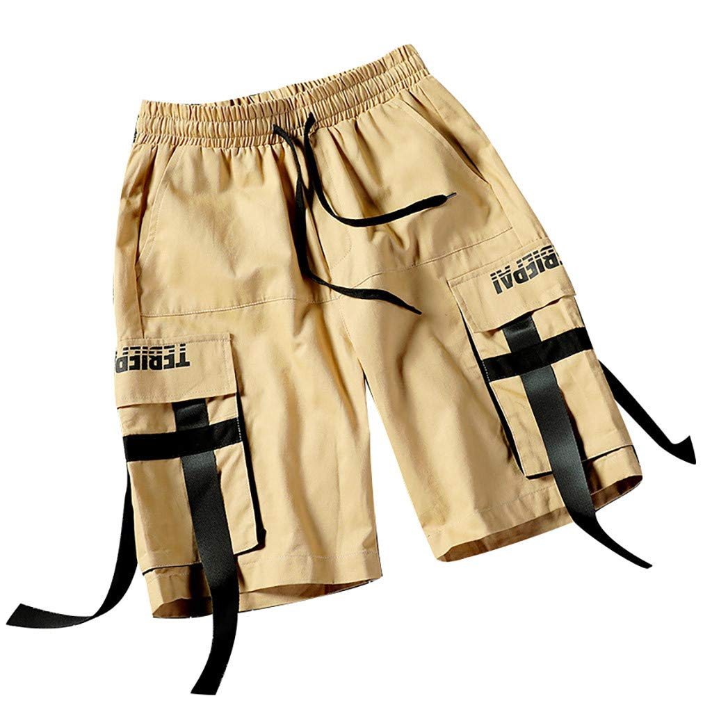 Corriee Mens Summer Outdoor Multi-Pocket Cotton Cargo Shorts with Ribbons Men Pants Overalls