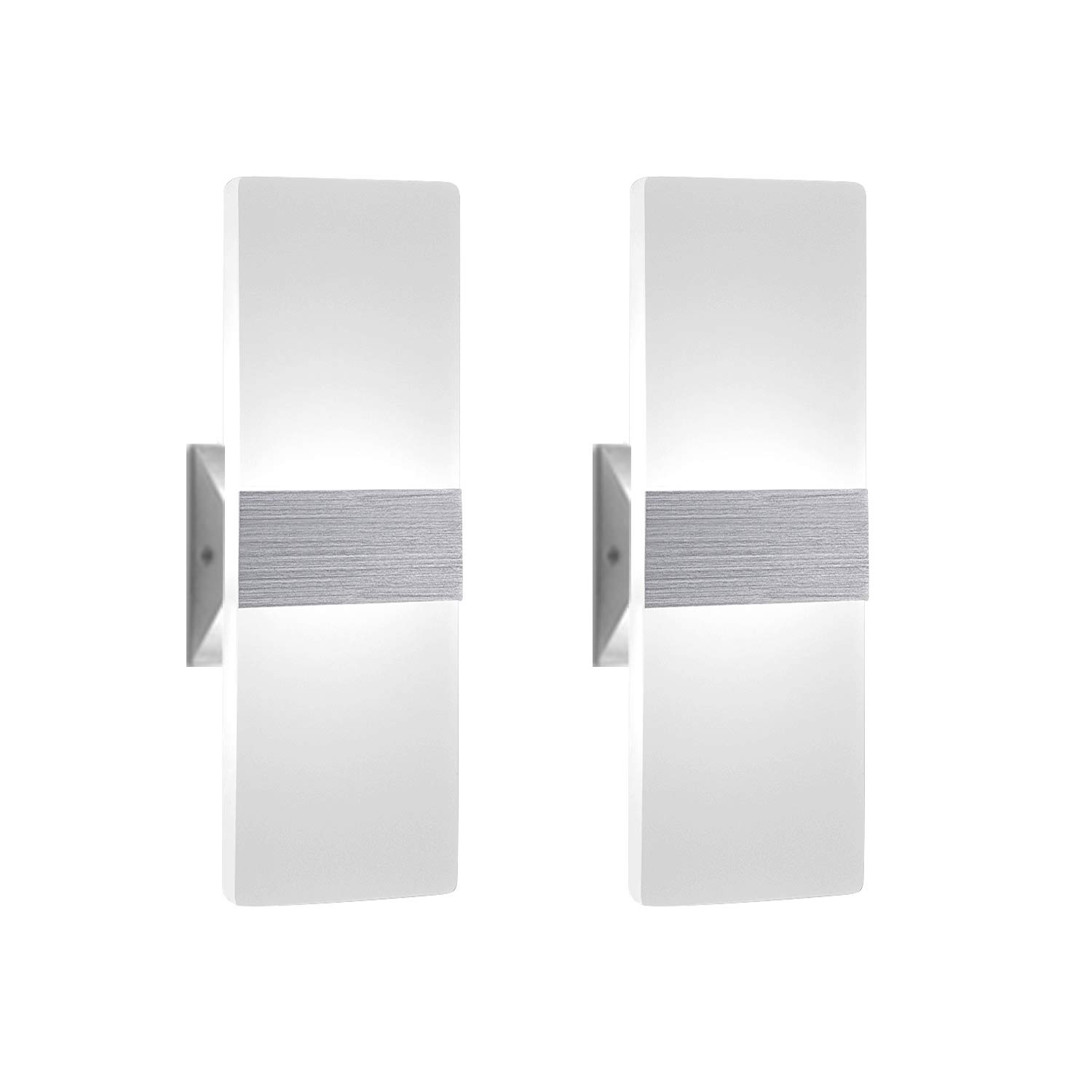Modern Wall Sconce 12W, Set of 2 LED Wall Lamp Cool White, Acrylic Material Wall Mounted Wall Lights