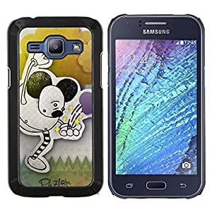 Eason Shop / Premium SLIM PC / Aliminium Casa Carcasa Funda Case Bandera Cover - Infancia Orejas Dibujo Negro Pastel Arte - For Samsung Galaxy J1 J100