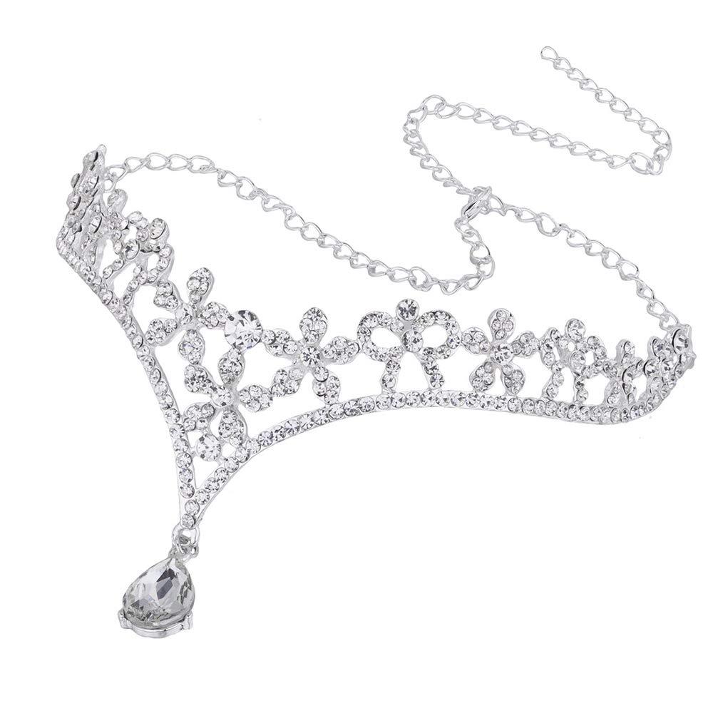 Aofocy Corona Tiara Boda Novia Dama de honor Cristal Flor Rhinestone//Frontlet