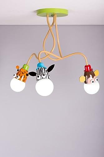 Lampadario Da Soffitto Per Bambini Unisex Ideale Per Illuminare La Cameretta Motivo Giraffa Scimmia E Zebra
