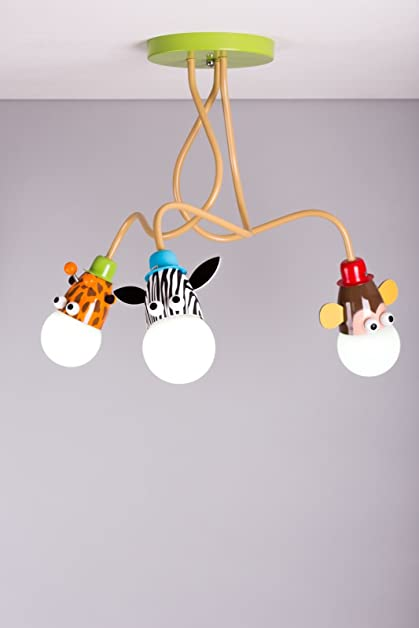 Giraffe Monkey Zebra kids ceiling light pendant light boys girls ...
