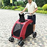 Pet Nation Expedition Pet Stroller for Dogs and Cats up to 90lbs - Red