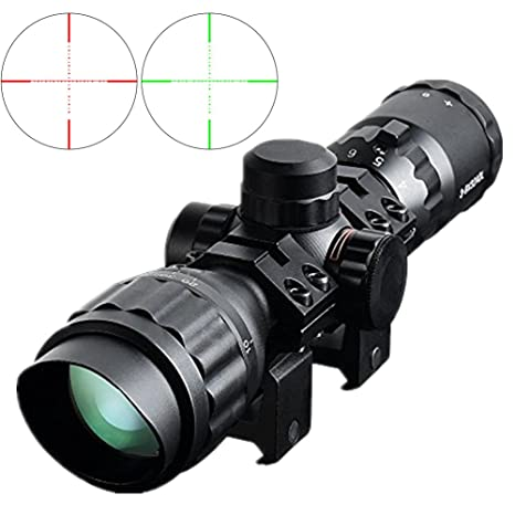 Beileshi Tactical 3-9x32 AO Rifle Scope, Red/Green Illuminated Mil-dot  Reticle, Flip Up Scope Covers, Quad Lock Detachable Rings