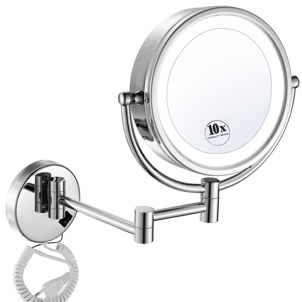 GURUN 8.5 Inch LED Lighted Wall Mount Makeup Mirrors with 10x Magnification,Chrome M1809D(8.5in,10x)