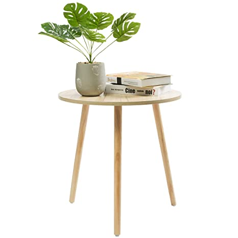 Marble Field Wooden End Tableround Coffeetea Side Tablesofa Table For Small Spacesnack Table With 3 Pine Feetthree Legged Solid Wood End