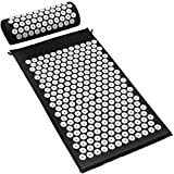 Sivan Health and Fitness Deluxe Acupressure Mat and Pillow Combo Set, Black