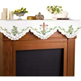 Embroidered Lily And Cross Easter Mantel Scarf