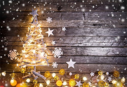 Laeacco Christmas Theme Backdrop 8x6ft Vinyl Photography Background Dreamy Snow Frame Lighting Xmas Tree Shape Light Decors Balls Snowflakes Grunge Plank Christmas Party Decoration Child Baby Shoot from Laeacco