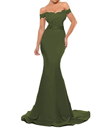 Jicjichos Women s Off Shoulder Evening Dress Mermaid Lace Long Formal Party  Gowns J020 Size 2 Army 066f8675031c