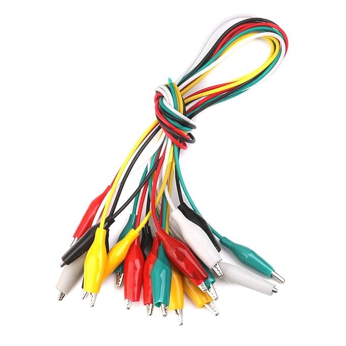 10pcs 50cm Cocodrilo Cable Alambre Clips de Dos Extremos Pinzas para Prueba: Amazon.es: Bricolaje y herramientas