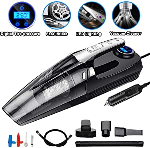 PBQWER Smart Digital Portable Inflator Pump Manometer LED 4 in 1 Car Wet/Dry Auto Vacuum Cleaner 12V 120W 4000Mpa Fast Inflation
