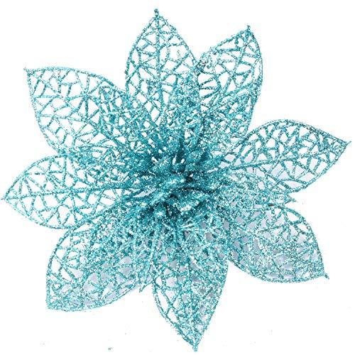 XmasExp 10 Pcs Glitzy Blue Poinsettia Bushes Christmas Tree Ornaments, Glitter Poinsettia Flowers Christmas Decorations (Turquoise Tree Decorations Christmas)
