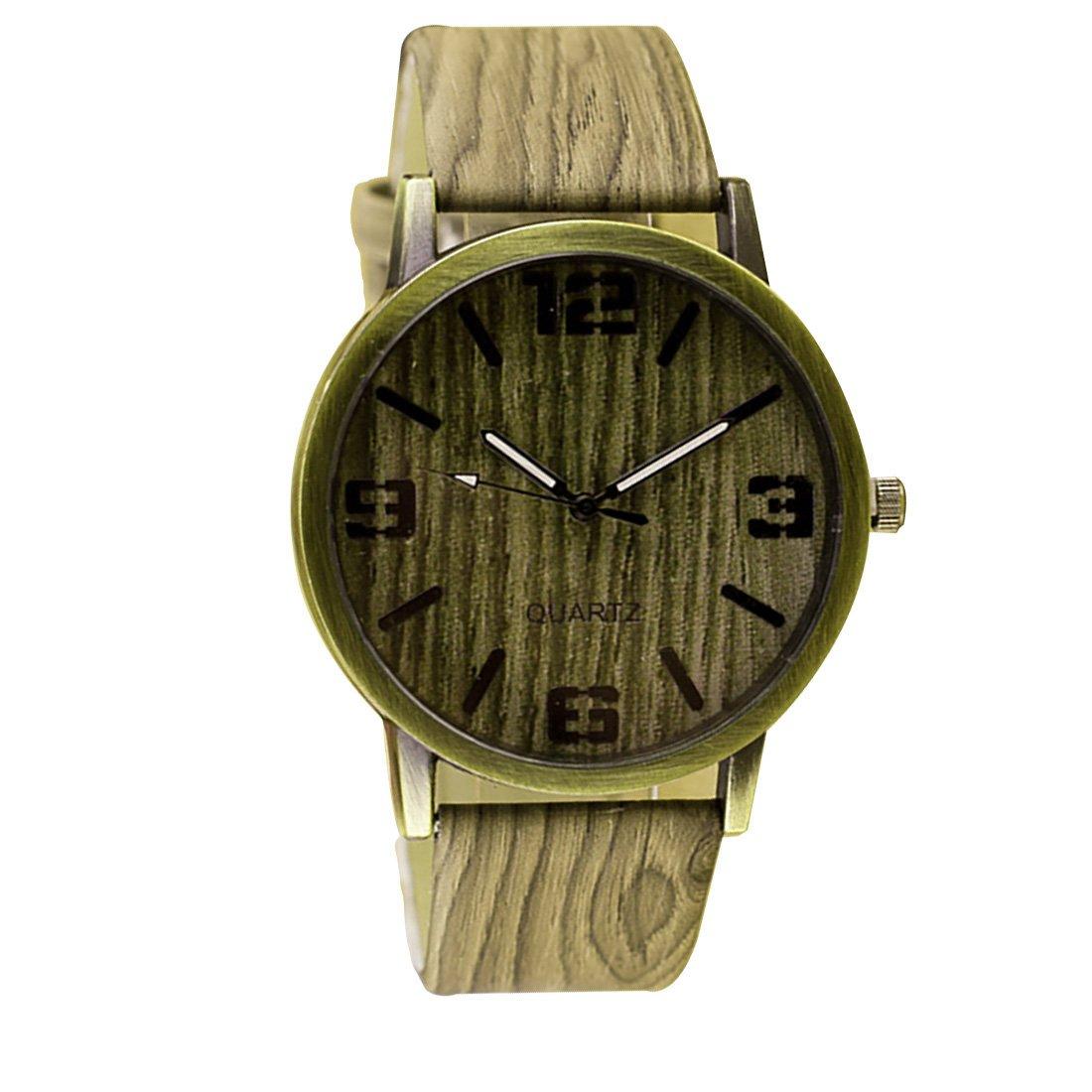 Amazon.com: 2016 Classical Wooden Watch Women Wristwatches Vintage Style Men Dress Watch Pu Leather Quartz Watch 5#: Watches