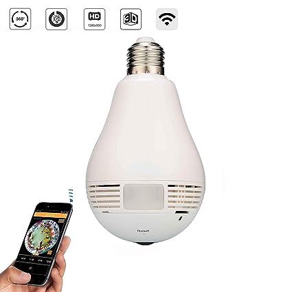 GLE V380 Spy Bulb Shape Fisheye 360° Panoramic Wireless WiFi 1 3 MP 960P HD  IP CCTV Security Camera with SD Card Slot