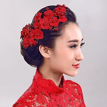 HYROS Fleurs Couronne Fleurs Rouges Perles Ornements de Cheveux Faits à la  Main Tête de mariée