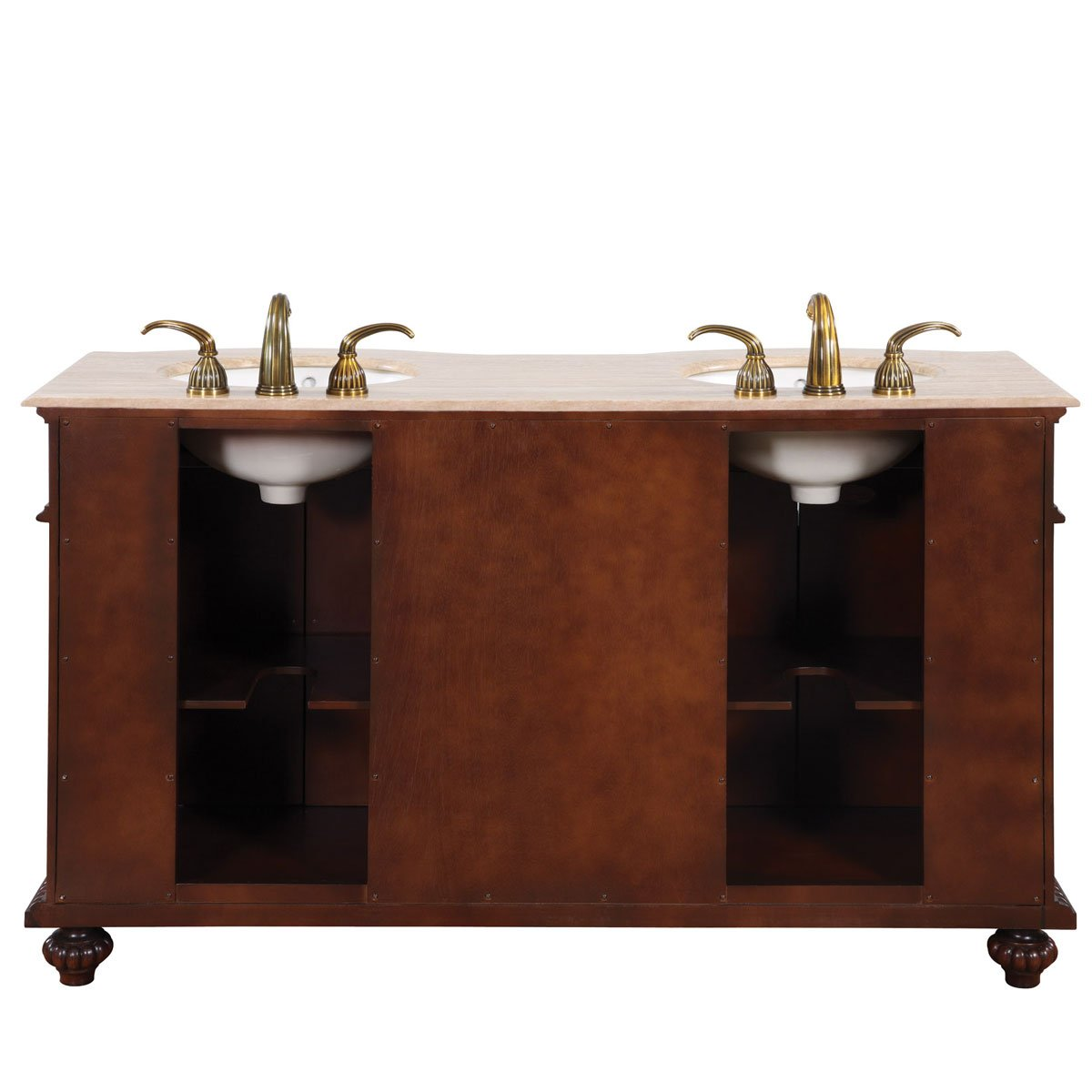 Silkroad Exclusive Countertop Travertine Dual Sink Bathroom Vanity with Double Cabinet, 60-Inch by Silkroad Exclusive (Image #3)