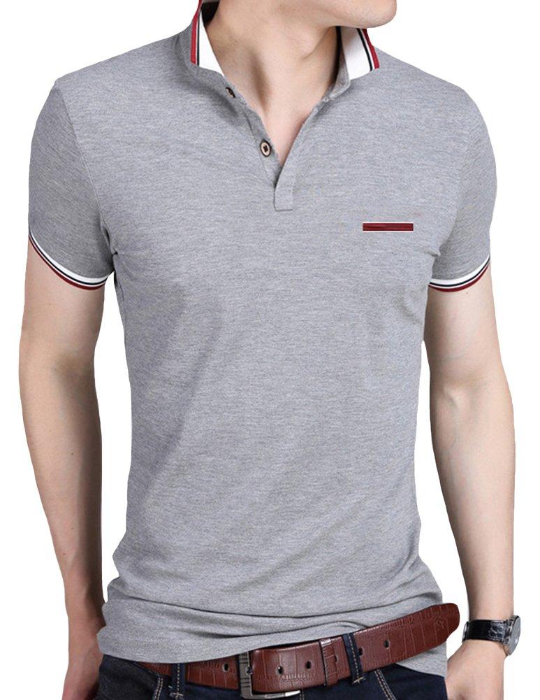Mens Polo Shirts Lovelelify Short Sleeve Slim Fit Polo T Shirts US M/Asian 3XL Gray HD6369