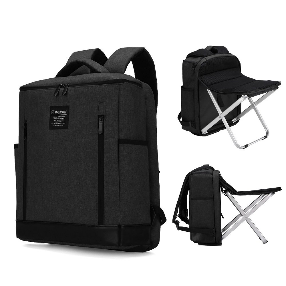 BenchMart Heavy Duty Folding Stool Backpack - Multi-functional 20-35L Folding Backpack Chair that You can Sit Anywhere at Anytime, Chair Can be Removed - Ideal Camping Gift for Fishing Sporting Hiking Beach BBQ Outdoor (Black)