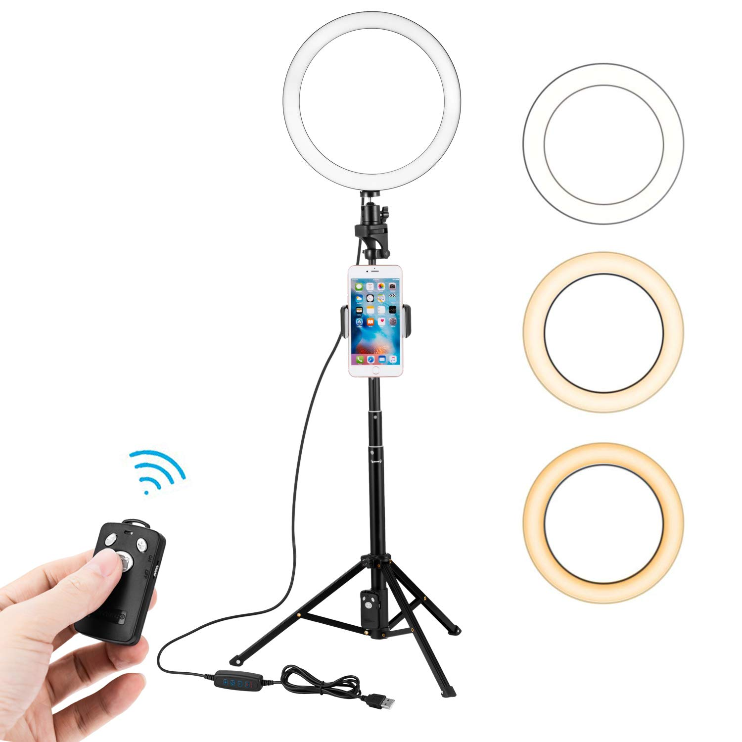 OMZER 10 Inch Selfie LED Ring Light with Extendable Tripod Stand & Cell Phone Holder,Dimmable Desktop Led Camera Light Ring with 3 Light Mode for YouTube Video and Live Stream/Makeup/Photography