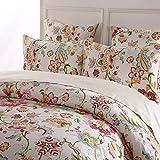 100 Cotton Duvet Covers Softta Luxury Damask Floral Bedding Design King Size 3Pcs(1 Duvet Cover+ 2 Pillowcases/Shams Farmhouse Flower Series 800 Thread Count 100% Cotton Duvet Cover Set