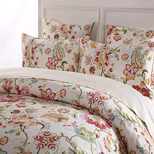- Softta Luxury Damask Floral Bedding Design Twin Size 3Pcs(1 Duvet Cover+ 2 Pillowcases/Shams Farmhouse Flower Series 800 Thread Count 100% Cotton Duvet Cover Set