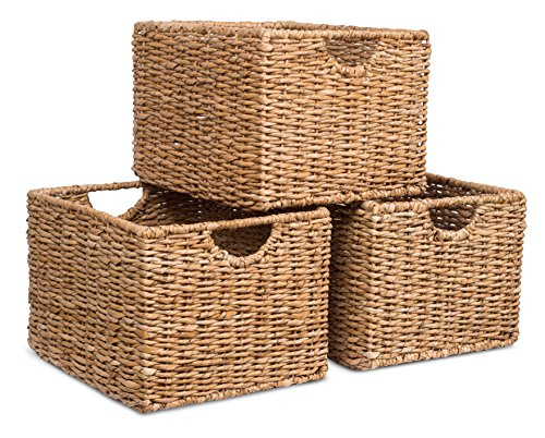 BIRDROCK HOME Storage Shelf Organizer Baskets with Handles - Set of 3 - Seagrass Wicker Basket - Pantry Living Room Office Bathroom Shelves Organization - Under Shelf Basket - Handwoven (Natural) (Drawers Small Wicker)