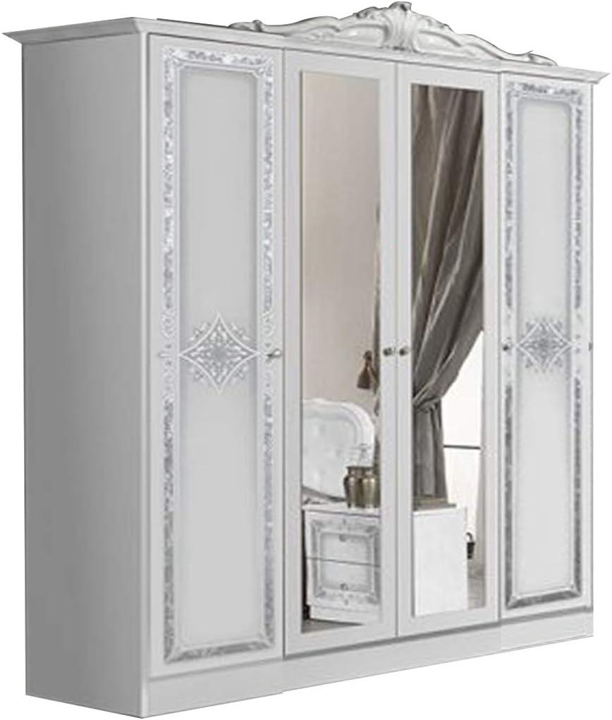 Thyda – Armario de 4 puertas – 2 puertas completas y 2 puertas centrales con espejo – serigrafía frontal – Corniche – L: 172 – Profundidad: 59 – Altura: 203 cm: Amazon.es: Hogar
