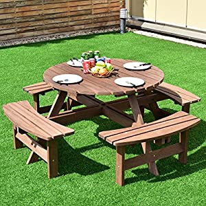 Giantex 8 Person Round Picnic Table Set Outdoor Pub Dining Seat Wood Bench