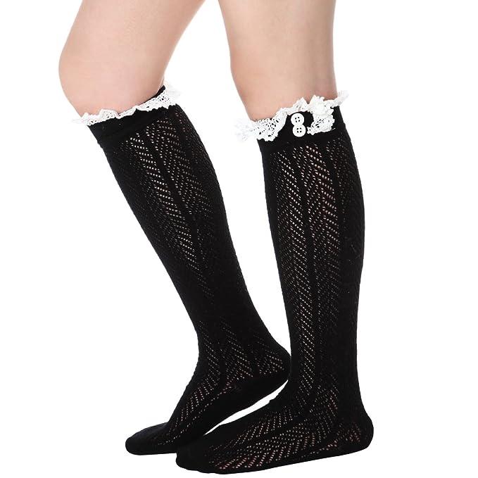 Las mujeres encaje botón para Boutique hueca de calcetines rodilla alta calentadores de la pierna Negro negro Talla única: Amazon.es: Ropa y accesorios
