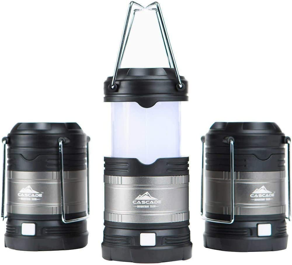 Cascade Mountain Tech Collapsible LED Lantern, Perfect Lighting for Camping, BBQ s and Emergency Light – 3 Pack Batteries Included