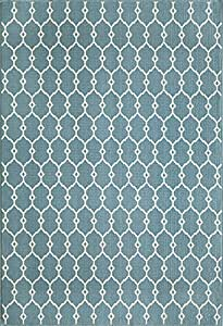 "Momeni Rugs BAJA0BAJ-2BLU1837 Baja Collection, Contemporary Indoor & Outdoor Area Rug, Easy to Clean, UV protected & Fade Resistant, 1'8"" x 3'7"", Blue"