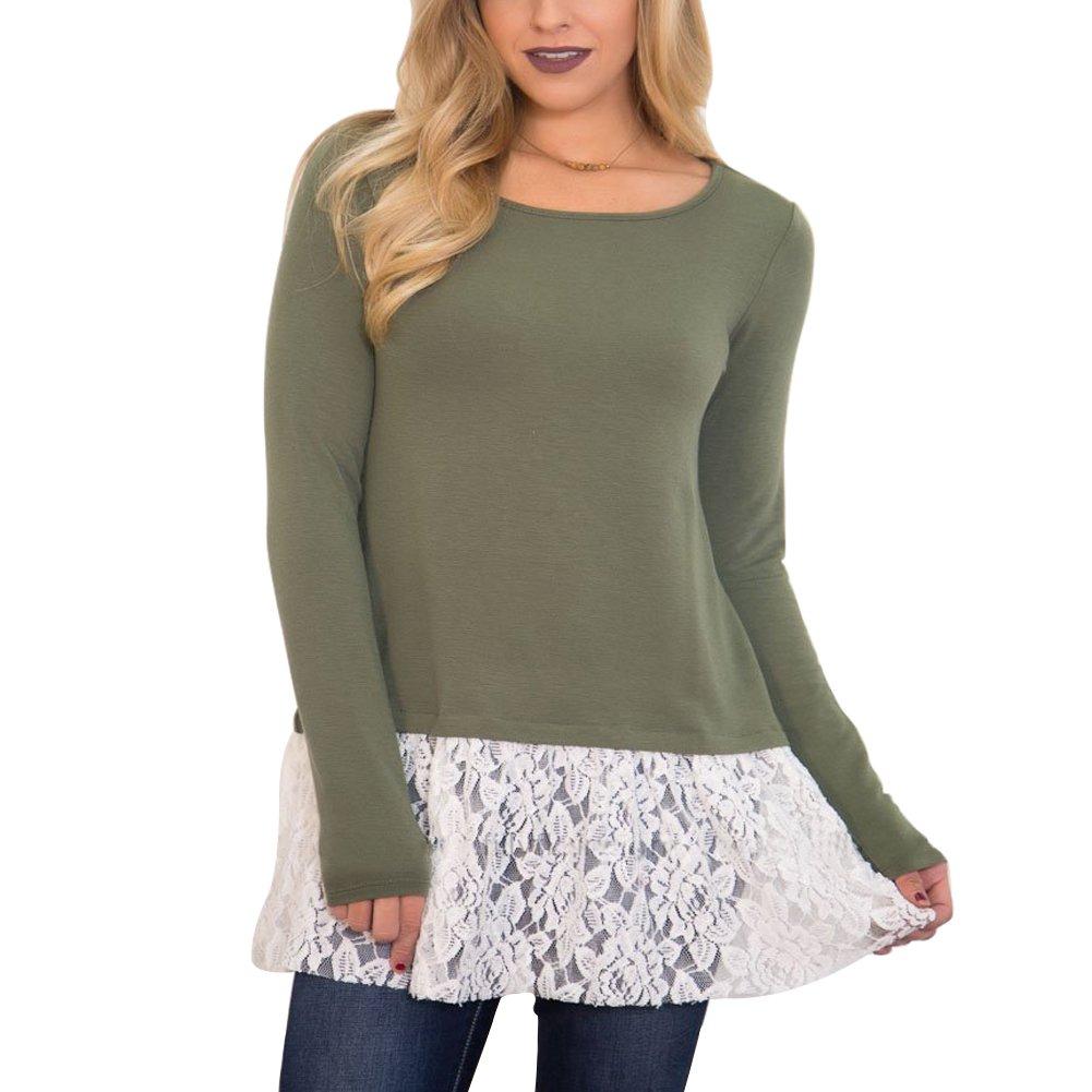Fancathy Damen Kontrast Hollow Out Spitzen Langarm T-Shirt Top mit Aushöhlen und Häkelarbeit Damen Baumwolle Patchwork Häkeln Shirt Pullover Blusen